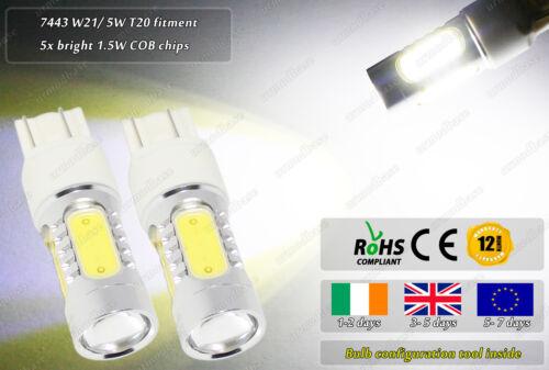 2x LED W21// 5W T20 7443 Xenon White Police Strobe Flashing DRL Lights Bulbs