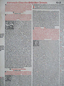 Decorative Post Incunable Leaf Law Red & Black Large Folio Fradin (4) - 1513