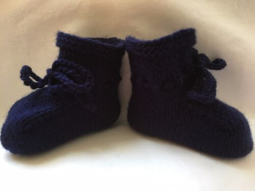Hand Knitted Baby Booties Navy Blue Newborn 0-3 to 3 Months Boy New Baby Shoes