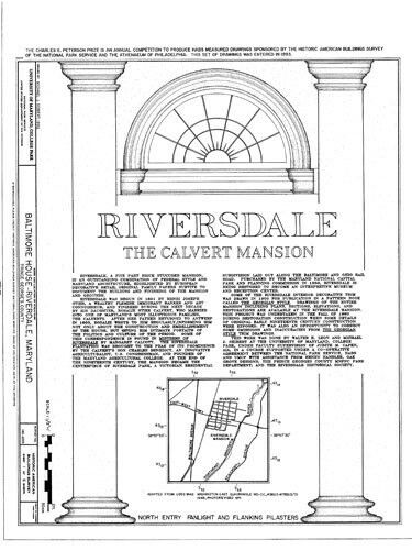 architectural house plans Riversdale the Calvert Mansion colonial America