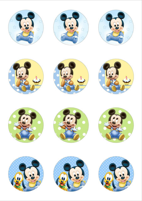 12 Cute Baby Mickey Mouse Edible Wafer Paper Cupcake Cake Toppers