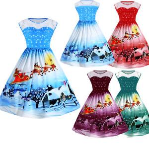 7e9071b9d59 Women s Plus Size Christmas Vintage Ball Dress Lace Panel Snow Print ...