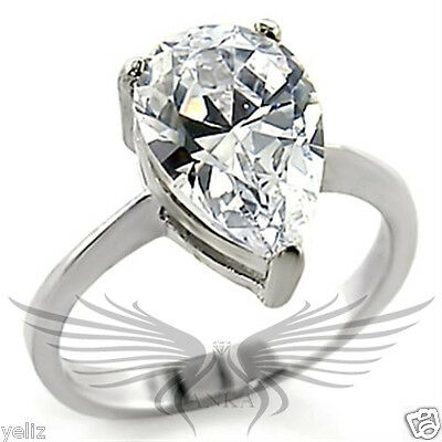 Brilliant 3.0ct Pear Cut Cubic Zircon CZ AAA 925 Engagement Ring Size 10 32132