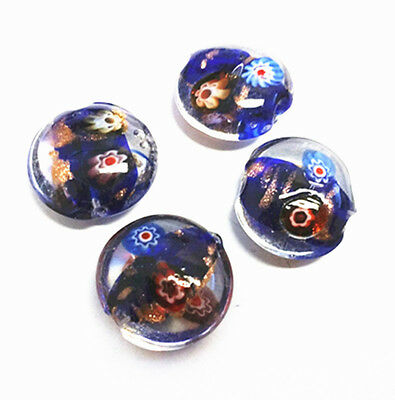 6pc 21x19mm flat round lampwork glass beads-9811