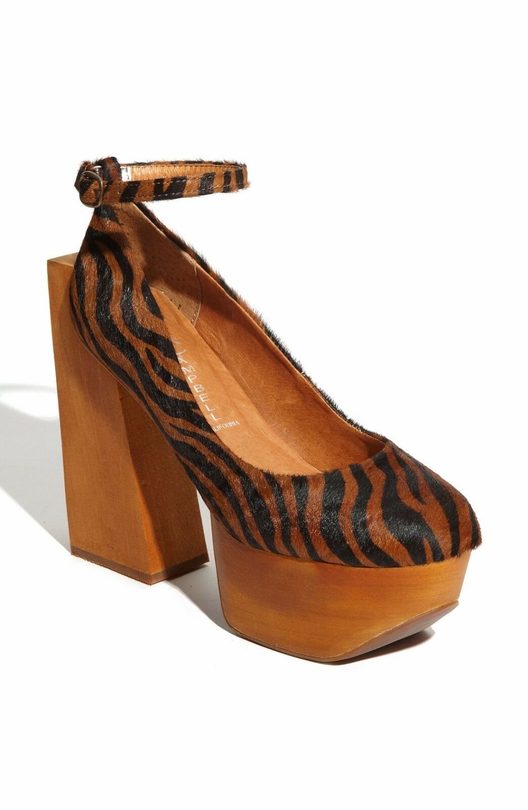 Jeffrey Campbell 'Safety' Animal Print Wooden Block Calf Hair Pumps Sz 6.5