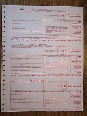 2013 IRS Tax Form 1099-S single sheet set for 3 transferors 3-part carbonless