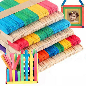 50X-Large-Wooden-sicle-Sticks-Kids-Hand-Crafts-Ice-Cream-Lolly-DIY-Makin-CRIT