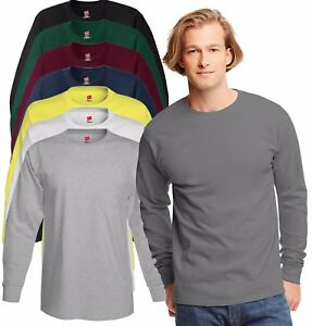 Hanes-USA-Long-Sleeve-Plain-Heavyweight-Cotton-Tee-T-Shirt-Tshirt-with-Cuffs