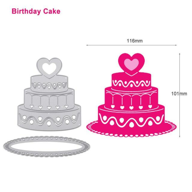 Birthday Cake Craft Cutting Dies Scrapbooking Embossing Folder Template Decor For Sale Online
