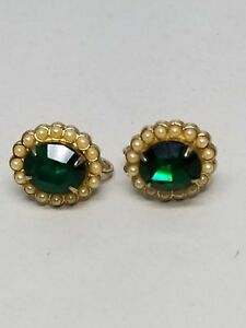 1950s-Screw-On-Vintage-Earrings-Green-Large-Rhinestone-Circled-with-Faux-Pearls