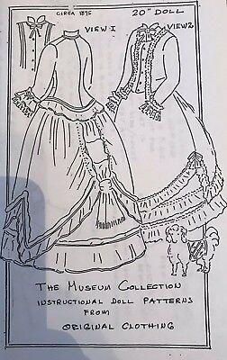 "1872 Enfantine Huret Style Scalloped Edges Dress 15/"" Doll Clothes Pattern"