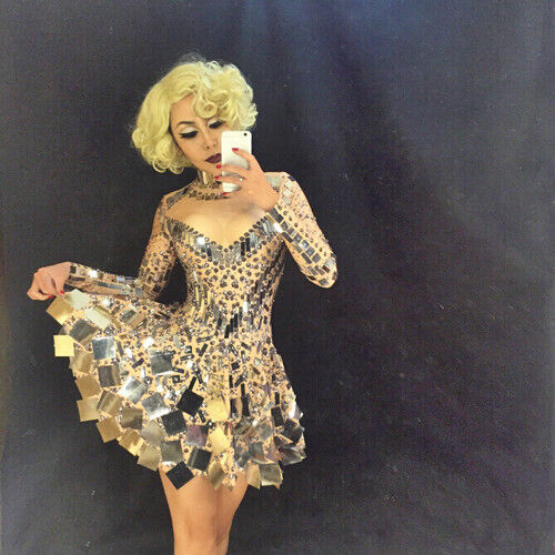 Shining Silver Mirrors Skirt Nightclub Party Leotard Performance Dancer Costume