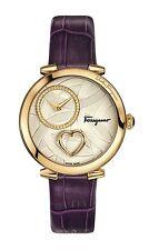 Ferragamo Women's FE2090016 CUORE Gold IP Steel Purple Leather Watch