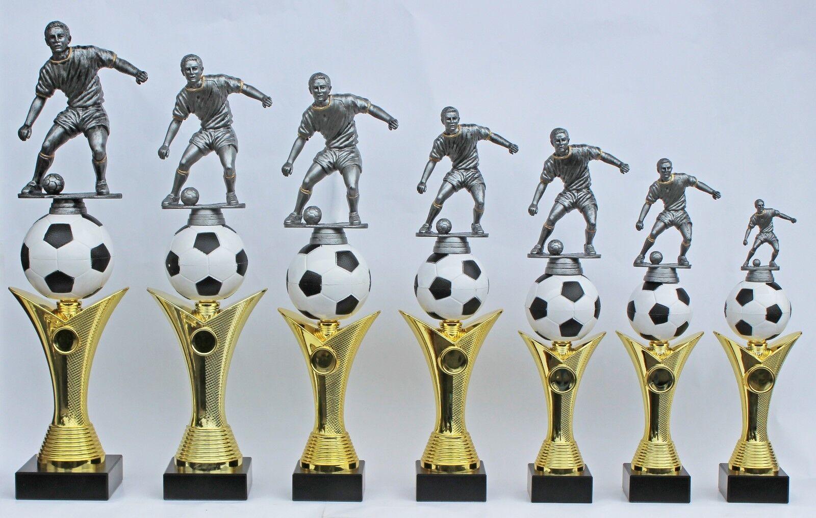 Pokal Fußballpokale 7er-Serie mit Gravuren und Emblemen auch mit Damenfigur