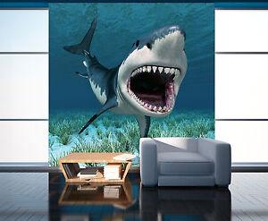3d Requin Photo Papier Peint En Autocollant Murale Plafond Chambre Art Ebay