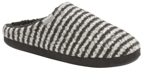Dunlop Mens Slippers Slip On Mules Fleece Lined Memory Foam In Sock Sizes 7-12