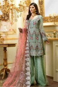 Indian-Pakistani-Shalwar-Kameez-Salwar-Saree-Suit-Dress-Wedding-Designer-Mint