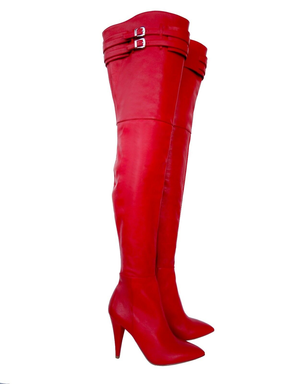 CQ COUTURE 9 CM CUSTOM OVERKNEE BOOTS STIEFEL STIVALI LEATHER ROSSO BELT RED ROSSO LEATHER 36 9b0ac1