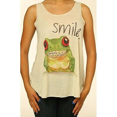 Smiling Frog With Braces Tank Top T Shirt Print Casual Light Weight S/M M/L New
