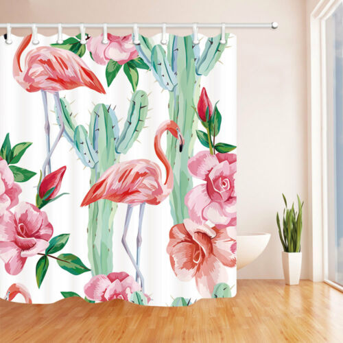 Flamingo Cactus Roses Cool Floral  Bathroom Fabric Shower Curtain Set 71Inches