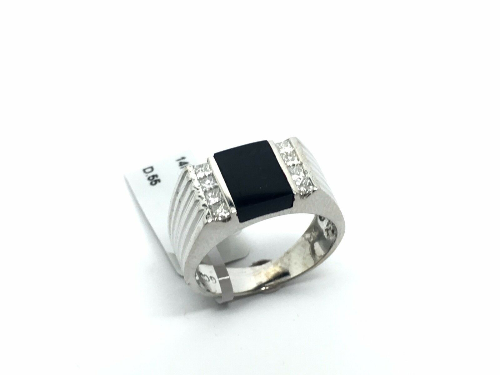 14k White gold Onyx and Diamond Ring D.55Ct. 7.31Grams