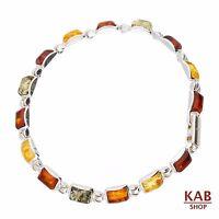 Multi Baltic Amber Gemstone Sterling Silver 925 Jewelry Bracelets 6x4mm, Kab-23