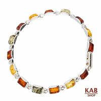 Multi Baltic Amber Gemstone Sterling Silver 925 Jewelry Bracelets 6x4mm, Kab-23