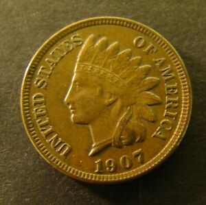 Brown 1907 1C Indian Head Cent AU #