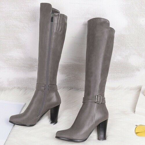Details about  /Fashion High Heels Ladies Knee High Boots Pu Leather Office Ladies Shoes Boots