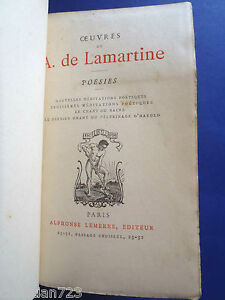 OEUVRES-DE-A-DE-LAMARTINE-BEAUTIFUL-LEMERRE-PARIS-XRARE-ca-1878-ANTIQUE-BOOK