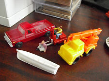 Lot of Vintage Small Plastic HO Scale Truck Forklift Crane Truck Boat