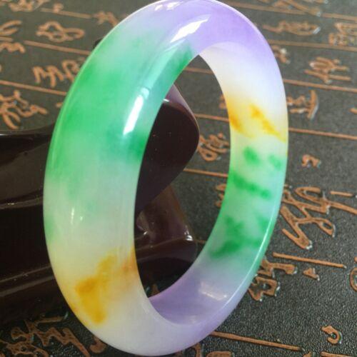 Natural jade hand engraving fashion purple yellow white green bracelet 60~62mm.