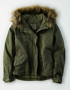 Womens Green Fur Hooded Parka