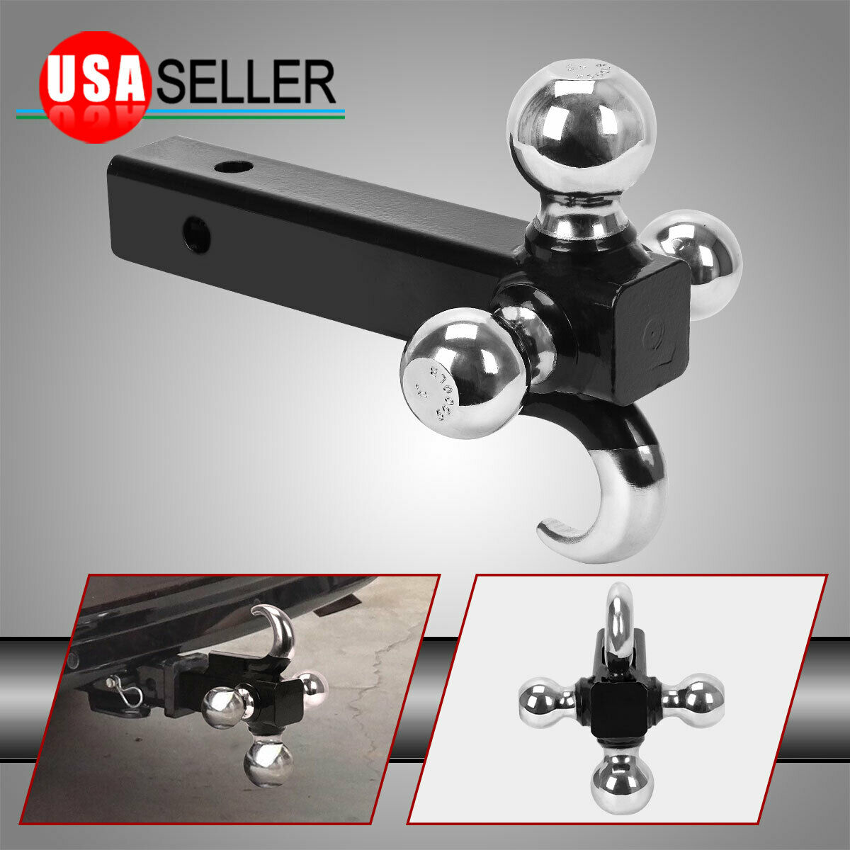 Hollow Shank with Pin and Clip BUDDYSER Trailer Hitch Tri Ball Mount Black 1-7//8,2/&2-5//16 with Hook