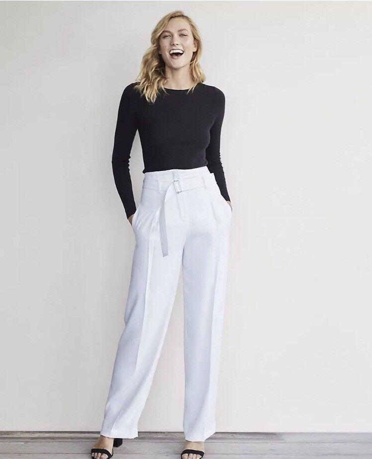 EXPRESS 8 KARLIE KLOSS WHITE HIGH RISE WIDE LEG BELTED DRESS PANTS trouser m
