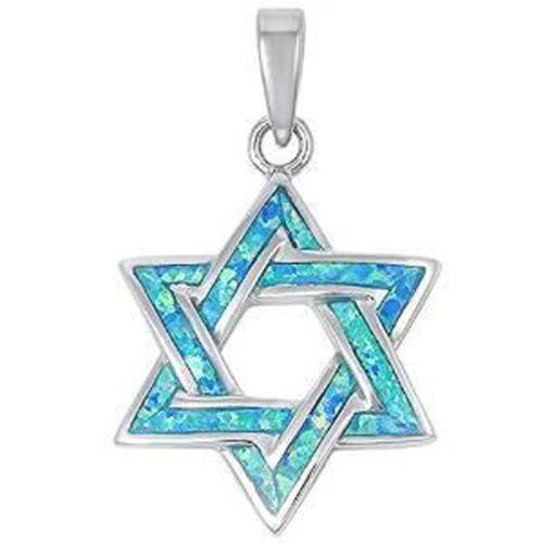 Blue Opal Star Of David .925 Sterling Silver Pendant