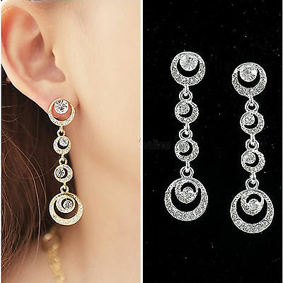 European Bridal Diamond Circle Silver/Gold Plated Stud Dangle Earrings Jewelry N