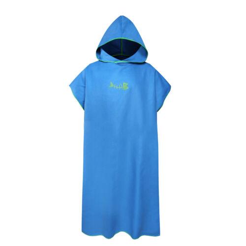 Microfiber Bath Swim Beach Towel Outdoor Adult Hooded Poncho Bathrobe 110*80cm