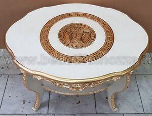Tavolini Da Salotto Ovali In Legno.Dettagli Su Tavolino Da Salotto Ovale In Legno Panna E Oro Con Decoro Medusa