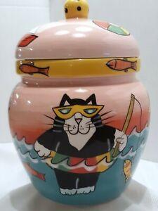 Candace-Reiter-Catzilla-Beach-Cats-2003-Cookie-Treat-Jar-Top-Handpainted