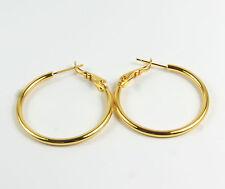 Women's 18 Carat Gold Filled Smooth Hoop Earrings Jewellery  3cms diameter