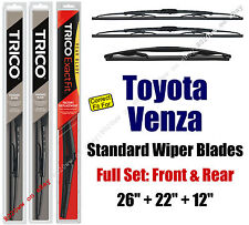 Wiper Blades 3-Pack Front Rear - fit 2009-2015 Toyota Venza 30260/221/12A