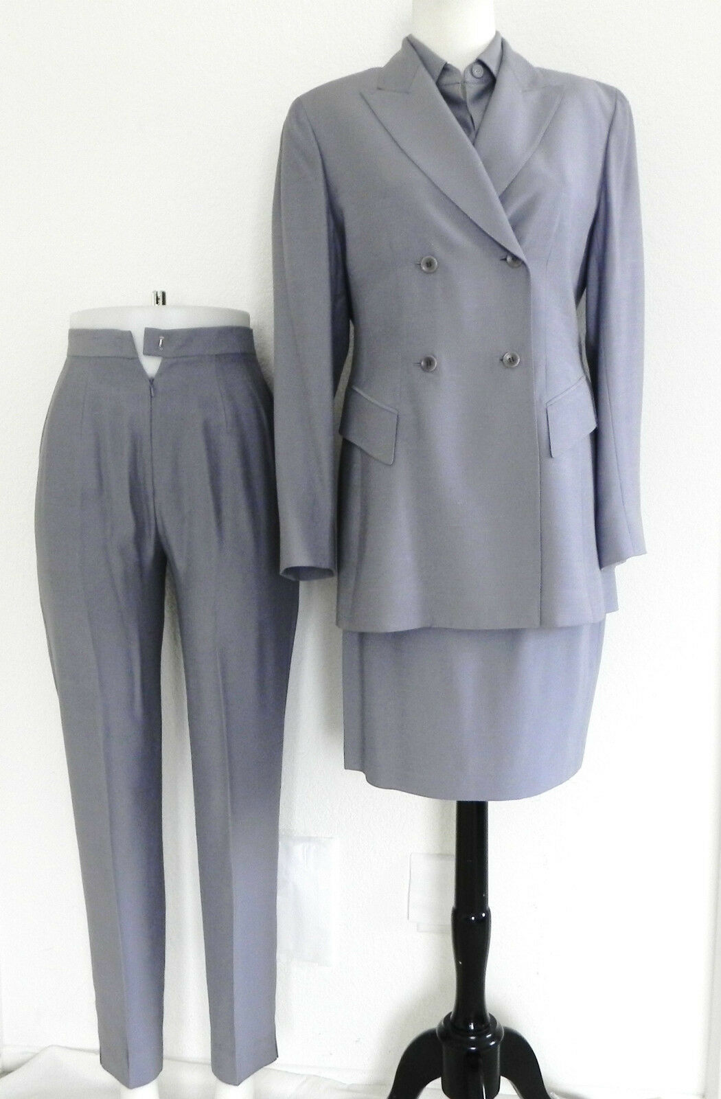 Emanuel Ungaro Suit Blazer Top Pants Skirt 4pc set classic fit Size4 Light Grey