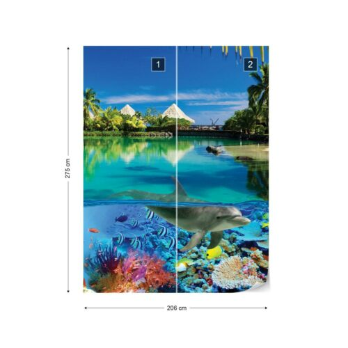 Tropical Island Dolphins Coral Wallpaper Wall Mural Fleece Easy-Install Paper