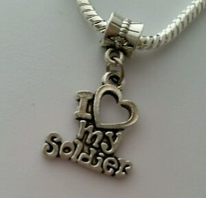 I-Love-My-Soldier-Heart-Army-Dangle-Charm-Bead-Silver-for-European-Bracelet