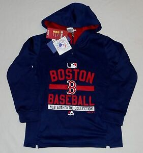 new arrival f563d 2248c Details about BOSTON RED SOX MAJESTIC THERMABASE HOODED SWEATSHIRT HOODIE  YOUTH S M L XL BLUE