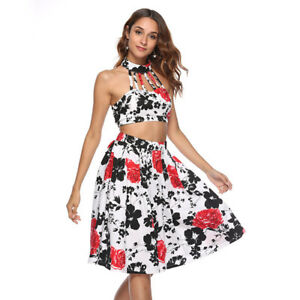 Women-Printed-Floral-Two-Piece-Backless-Knee-Length-Dress-Party-Cocktail-Evening