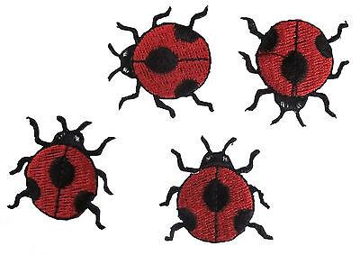 #3806 Lot 4PCS Embroidery Iron On Ladybug Applique Patch