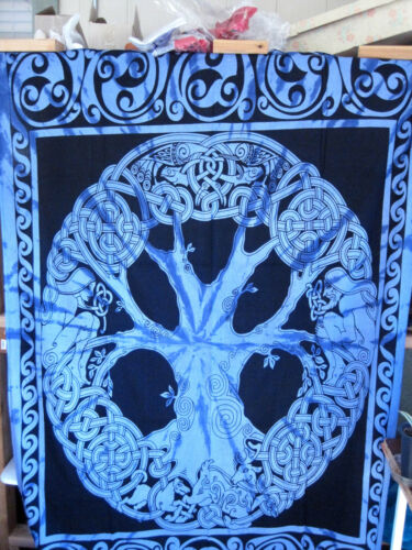 """Cotton Tapestry Table cloth blue 52/"""" x76/"""" Tree of Life"""