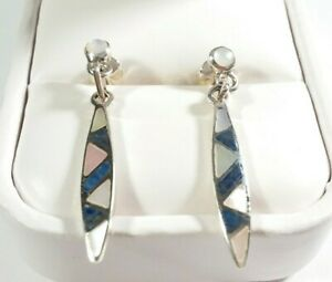 925-STERLING-SILVER-SLENDER-MOTHER-OF-PEARL-amp-LAPIS-1-7-16-034-POST-EARRINGS